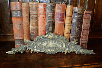 Antique French Bronze Pediment Shell Pattern Decorative Mount