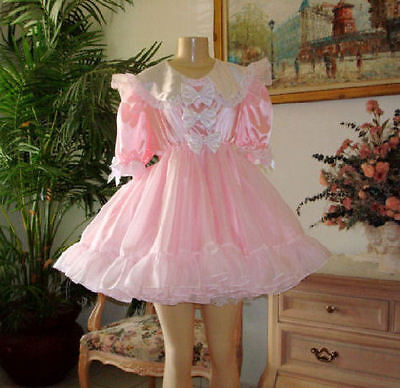 Adult SiSsy BaBy Dress Fancy Bows - Pink Satin - Empire waist