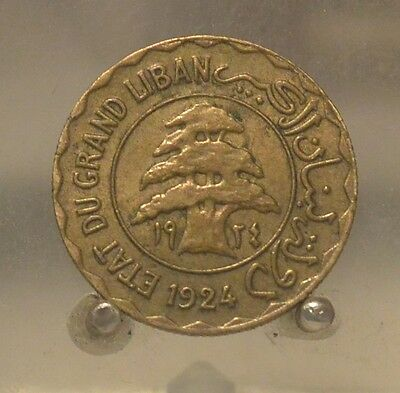 1924 Lebanon Aluminum Bronze 2 Piastres, Old World Coin