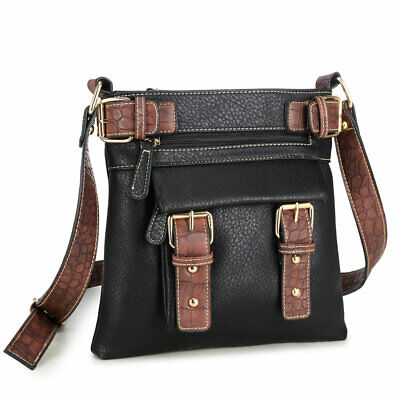 New Dasein Women Leather Messenger Crossbody Bag Handbag Shoulder Bag Hobo Purse