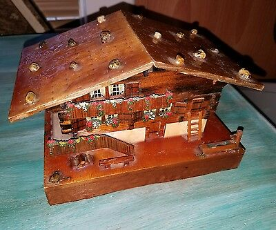 "Vintage Wood Swiss Chalet Music Box ""Happy Wanderer Woodcutter Boys"""