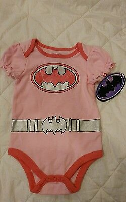 Batman pink infant Baby Girl Bodysuit outfit glitter 3-6 months NWT one piece