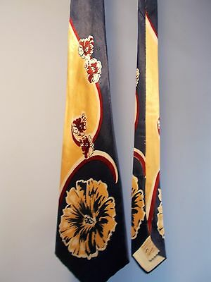 VINTAGE 1940s PENNY'S CALIFORNIA SATIN NECK TIE OLD HOLLYWOOD double ended wide
