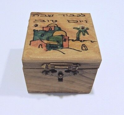 Vintage Israel Travel SHABBAT SHABBOS Brass Candle Holders in wooden box