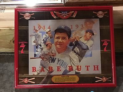 Rare 1990 Babe Ruth Seagram's 7 Whiskey Bar Mirror Sign with Wooden Frame