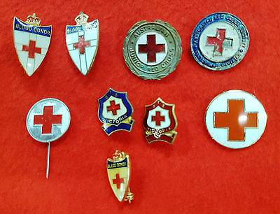 Red Cross Badges And Pins Lot Of 9