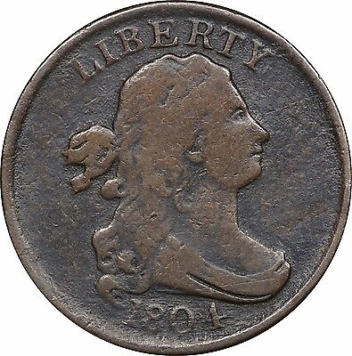 1804 Draped Bust Half Cent Fine F Details Slight Porosity