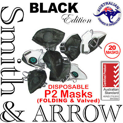 20x BLACK FOLDING P2 FACE MASK SAFETY DISPOSABLE VALVED DUST PAINTING FILTER