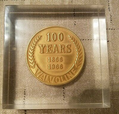 VALVOLINE Oil 100th Anniversary Coin Lucite Paperweight