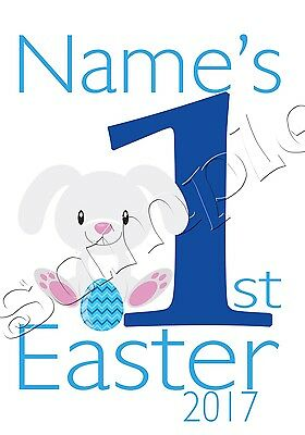 Iron on Transfer MY FIRST EASTER RABBIT BUNNY 1ST BLUE EGG 11X15CM PERSONALISED