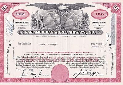 Pan American World Airways 100 Shares Stock Certificate Shipped Business Letter