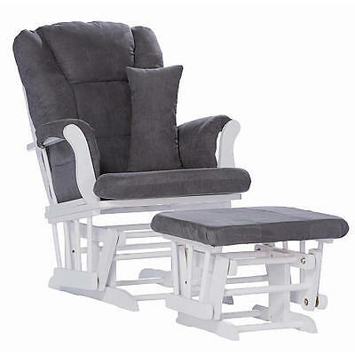 Tuscany Glider & Ottoman w/ Support Pillow - White, Gray - 06554-581