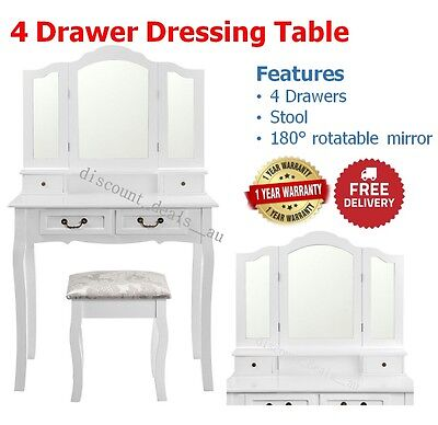 4 Drawer Dresser Dressing Table White Makeup Vanity Jewellery Cabinet w/ Stool