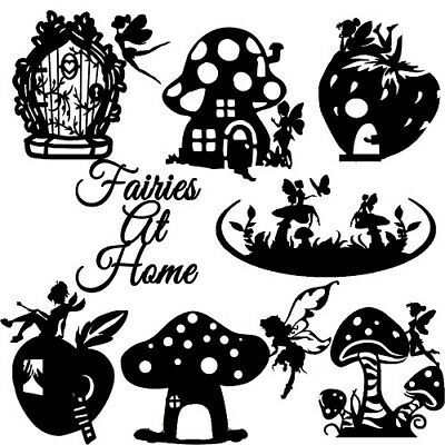 Die Cut Outs Silhouette Fairies at Home x 7 toadstool fairy jar scrapbook shapes
