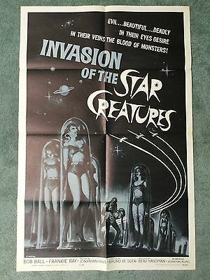 INVASION OF THE STAR CREATURES Original one sheet cult Sci Fi space babes 1962