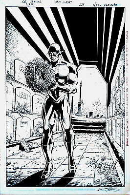 THE FLASH Original DC Comic Art Full Splash Page Wally West In Costume