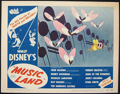 Music Land 1955 Original Lobby Card Disney Rko Animation High Grade