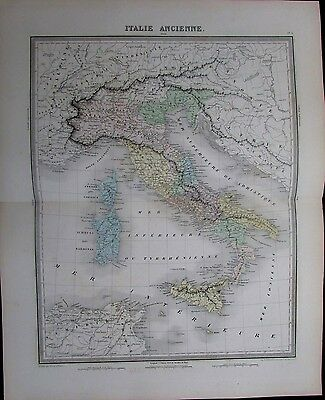 Ancient Italy Sicily Sardinia Rome Venice lovely 1858 antique engraved color map