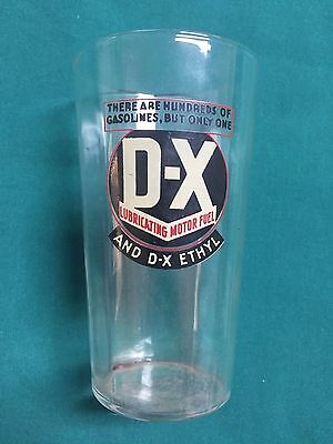 DX LUBRICATING MOTOR FUEL DRINKING GLASS VINTAGE ANTIQUE OIL GAS Nos