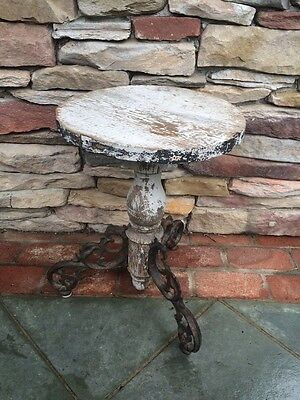 Antique Unique Shabby Chic piano stool/plant stand/end table cast iron feet