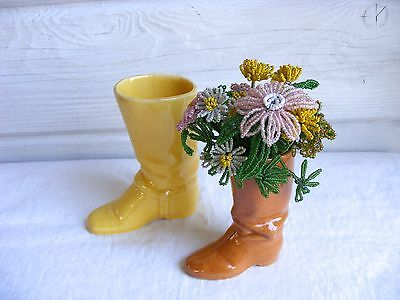 Vintage Rosemeade Brown Pottery Boot Miniature Vase, Equestrian Collectible