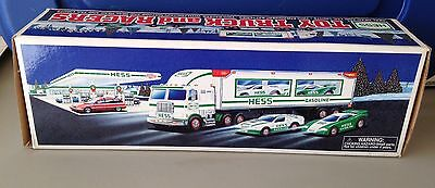 1997 HESS NEW Toy Truck And Dual Race cars With Friction Motors And Lights