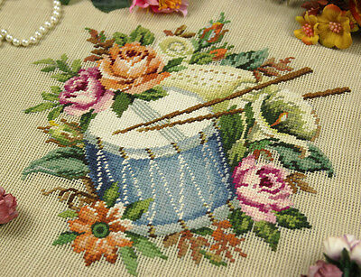 ELEGANT ART Beautiful Preworked Needlepoint Canvas Roses Lily Daisy Drum