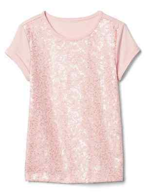 Nwt Gap Kids Girls Pink Sequin T Shirt Top Xs 4-5 Adorable!