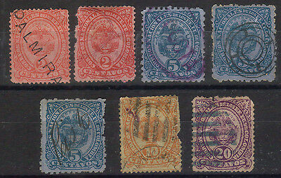 Colombia - 1882 Issues - Scott 117 to 120 - Various Used in Mixed Condition