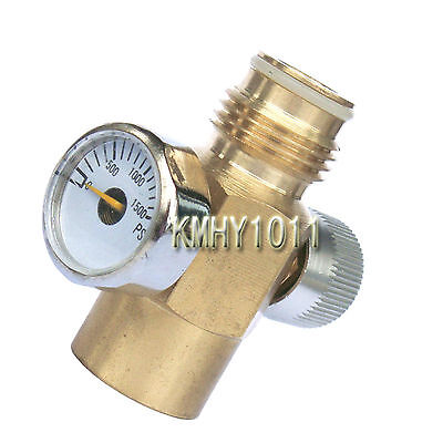 paintball Inner Thread CO2 Tank On/Off Valve with 1500 Psi Gauge NEW