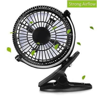 Clip-on Table Fan Rechargeable Battery USB for Baby Stroller Car Camping Desk