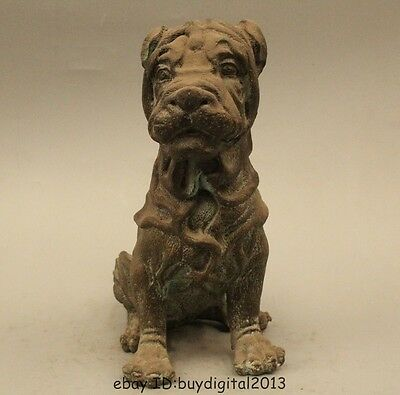 """8"""" Lovely China Chinese Pure Bronze Famous Pet Shar Pei Pug Dog Statue"""