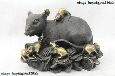 """7""""Chinese Fengshui Copper Zodiac Year Lucky Money drawing mouse Statue"""