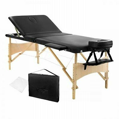 NEW 70cm Heavy Duty Frame Portable Wooden 3 Fold Massage Table Chair Bed - Black