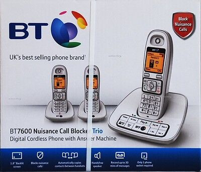 BT 7600 Trio White Cordless Dect Digital Phone with Answer Machine (B-1019)