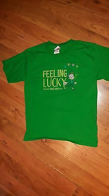 Feeling Lucky youth medium/large green vintage style shirt Lucky Charms promo