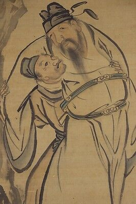 JAPANESE HANGING SCROLL ART Painting  Asian antique  #E4003