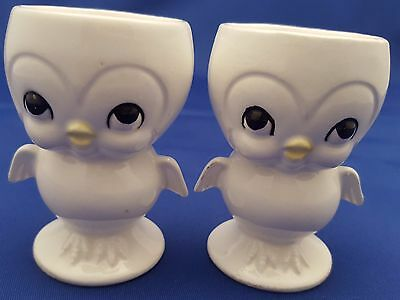 """2 White Chick Egg Cups Chicken Japan Yellow Beak Foil Kmart Canada Labels 3"""""""