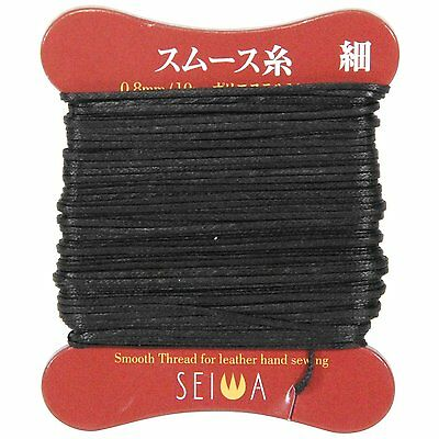 SEIWA Smooth thread Thin Fine Black Polyester Leather Craft Tool New From Japan