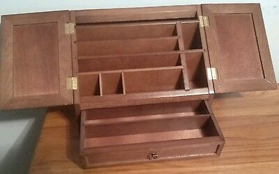 Table Top Mail Organizer W/Drawer .Pens^ *Letters* Wooden Desk Tray Walnut Color