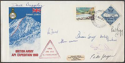 Nepal British Army Api Expedition Rare Signed Cover To Uk