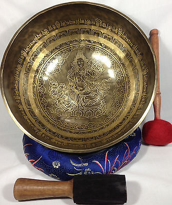 "11""Green Tara and Buddhist Mantra Carving Himalayan energetic Healing Bowl Nepal"