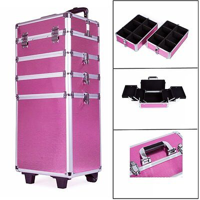 Portable Cosmetics Beauty Hairdressing Makeup Trolley Carry Bag Case Box Pink