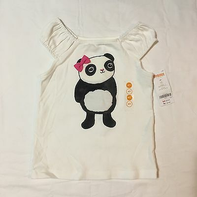 Toddler Girls Shirt Tank Top Sz 4T NWT New White Panda Bear Bow Animal Cute Pink