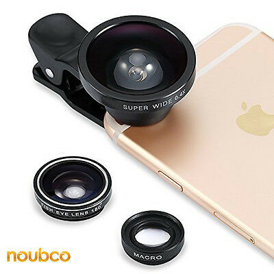 3 in 1 Fisheye Lens + Macro + 0.4X Super Wide Angle, Clip On Cell Phone Camera
