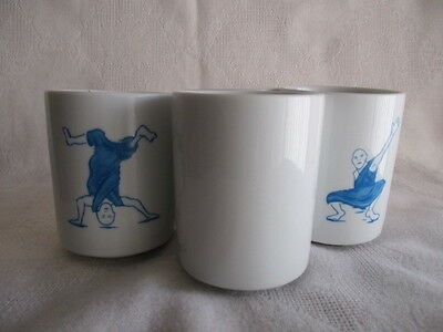"Four ""McPhee Breakdancing Monks"" Ceramic Teacups Holds 118.3 ml (4 oz.) New"