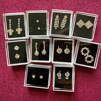 JOB LOT-10 pairs of drop/clip/stud diamonte earrings.Gift boxed.Silver plated.