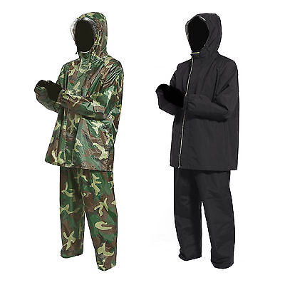 Men's Waterproof Windproof Rain Jacket and Trousers Set Rainsuit Suit L-XXL