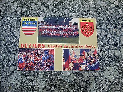 Carte Postale Photo Equipe As Beziers Rugby 1989 Herault