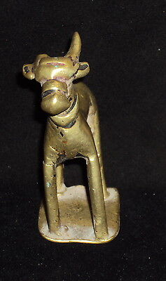 Antique Hindu Traditional Indian Ritual Brass Standing Nandi Rare Collectible #1
